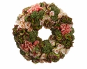 "19"" Artificial Hydrangea, Silk Roses and Sedum Wreath Arrangement"