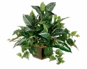 "19"" Artificial Silk Zebra, Dieffenbachia and Pothos Plant Mix - Set of 2 Arrangements"