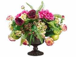 "19"" Peony Flowers, Silk Roses and Artificial Apple Arrangement in Urn with Handle"