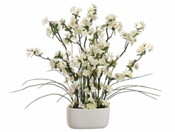 2' Tall Artificial White Blossom/Grass in Oval Vase Arrangement (SET OF 2)