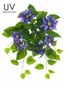 "20.5"" UV Protected Clematis Flower Hanging Bush - Set of 6"