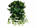 """20"""" All Season Artificial Silk Grape Leaf Hanging Bush with12 Stems including Grapes - Set of 6"""