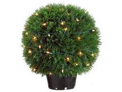 "20"" Artficial Cedar Single Ball Topiary x 560 with 70 Clear Lights in Plastic Pot"
