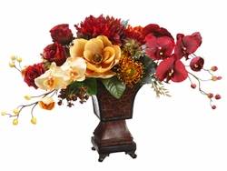 """20"""" Artificial  Phalaenopsis Orchid, Dahlia and Lily Flower Arrangement in Resin Urn"""