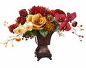 "20"" Artificial  Phalaenopsis Orchid, Dahlia and Lily Flower Arrangement in Resin Urn"