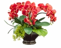 "20"" Artificial Phalaenopsis Orchid Flowers with Moss and Orchid Leaf in Decorative Scallop Bowl"
