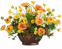 "20"" Artificial Ranunculus, Daisy and Poppy Flowers in Ceramic Container"