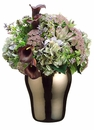 "22"" Artificial Calla Lily, Hydrangea Flowers and Queen Anne's Lace Arrangement in Ceramic Pot"