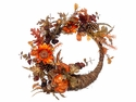 "22"" Artificial Pumpkin, Pine Cone and Acorn Cornucipia Fall Wreath"