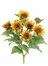 "22"" Artificial Sunflower Bush with 9 Blooms - Set of 4"
