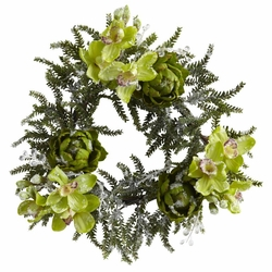 22� Iced Cymbidium & Artichoke Wreath
