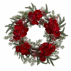 "22""  Orchid,  Berry & Pine Holiday Wreath"