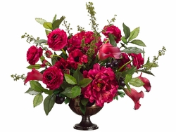 "22"" Silk Peony and Ranunculus Flowers, Plum and Artficial Calla lily Arrangement in Urn"