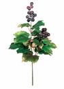 "23"" Artificial Grape Leaf Spray x 2  branches with Grapes- Set of 24"