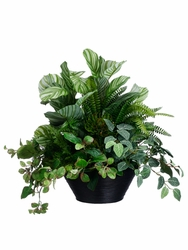 "23"" Artificial Peperomia, Fittonia, Fern, Peacock and Protea Plant Arrangement in Bamboo Bowl"