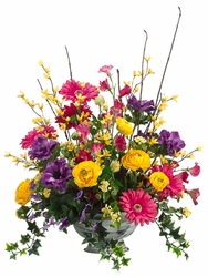 "23"" Artificial Silk Forsythia and Daisy Flower Arrangement"