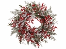 "24"" Artficial Ice Mini Berry with Pine Cones and Cedar Wreath - Set of 2 (shown in white)"
