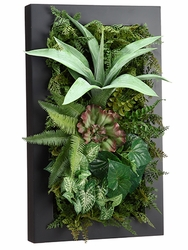 "24"" Artificial Agave, Silk Fern and Succulent Cactus Wall Decor"