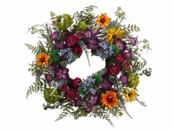 """24"""" Artificial Daisy, Ranunculus,Petunia  Flowers and Hydrangea Wreath Mixed - Set of 2"""