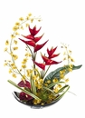 "24"" Artificial Oncidium Flowers, Artificial Heliconia and Anthurium Tropical Flower Arrangement on Aluminum Plate"