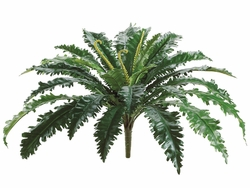 "24"" Artificial Silk Bird's Nest Fern Bush with 27 Leaves - Set of 12"