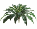 "24"" Artificial Silk Bird's Nest Fern Bush X 27 Leaves - Set of 12"