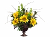 "24"" Artificial Silk Sunflower/Protea/Bells of Ireland Arrangement in Urn"