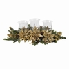 "24"" Golden Poinsettia Triple Candelabrum Centerpiece"