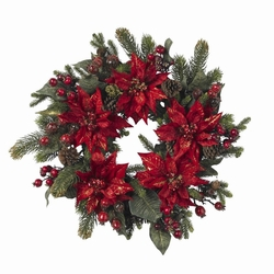 "24"" Poinsettia & Berry Wreath"