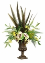 "24"" Silk Phalaenopsis Orchid Flowers, Feather and Protea Arrangement in Garden Urn"