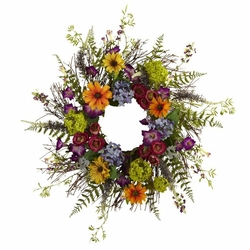 "24"" Spring Garden Wreath w/Twig Base"