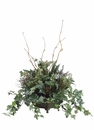 "24"" Yucca Fern Bush, Berry and Artificial Ivy in Metal Container"