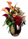 "25"" Artificial Artichoke, Silk Rose and Calla Lily Flower Arrangement in Ceramic Vase"