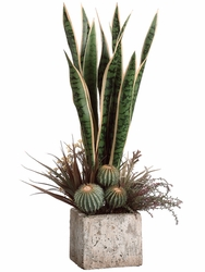 "26"" Artificial Cactus Arrangement - Sanseveria"