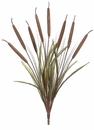 "26"" Artificial Cattail Grass Bush Stem with 8 Cattails - Set of 12"