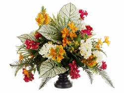 "26"" Artificial Frangipani, Bougainvillea and Flame Flowers in Designer Bowl"
