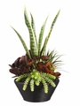 "26"" Artificial Kalanchoe Plant and Echeveria Cactus Arrangement in Bamboo Bowl"