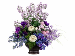 """26"""" Artificial Orchid, Silk Rose, Blossoms and Anemone Arrangement in Ceramic Container"""