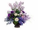 "26"" Artificial Orchid, Silk Rose, Blossoms and Anemone Arrangement in Ceramic Container"