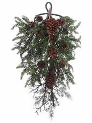 "26"" Artificial Pine Cone, Twig and Pine Needles Teardrop Arrangement - Set of 2"
