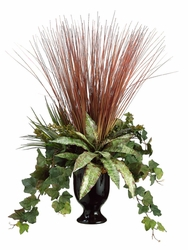"26"" Artificial Grass and Ivy Silk Plant Arrangement in Vase"
