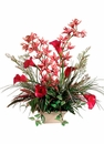 "27"" Artificial Calla Lily and Cymbidium Flowers with Mixed Greenery Arrangement in Square Ceramic Container"