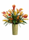 """27"""" Artificial Calla Lily and Wildflower Arrangement in Ceramic Vase"""