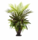 27� Mixed Areca Palm, Fern & Peacock with Planter