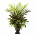 27� Mixed Areca Palm, Fern & Peacock w/Planter