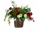 "27"" Sunflower, Protea and Ranunculus Silk Flower Arrangement in Ceramic Vase"