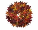 """28"""" Artificial  Maple Leaf Wreath Arrangement in Fall Colors - Set of 2"""