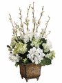 "28"" Artificial Silk Hydrangea/Blossom Arrangement in Ceramic Urn"