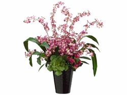 "29"" Artificial Oncidium Flowers and Succulents Mixed in Ceramic Vase"