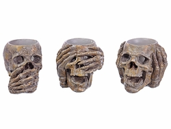 "3.25"" Artificial Halloween Skull Candleholder Decoration (3 ea/set)"